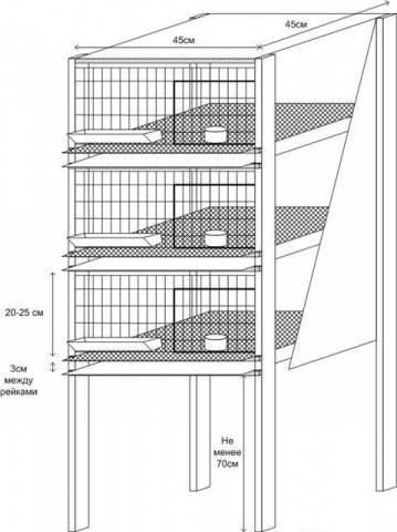 трехъярусный домик для перепелов