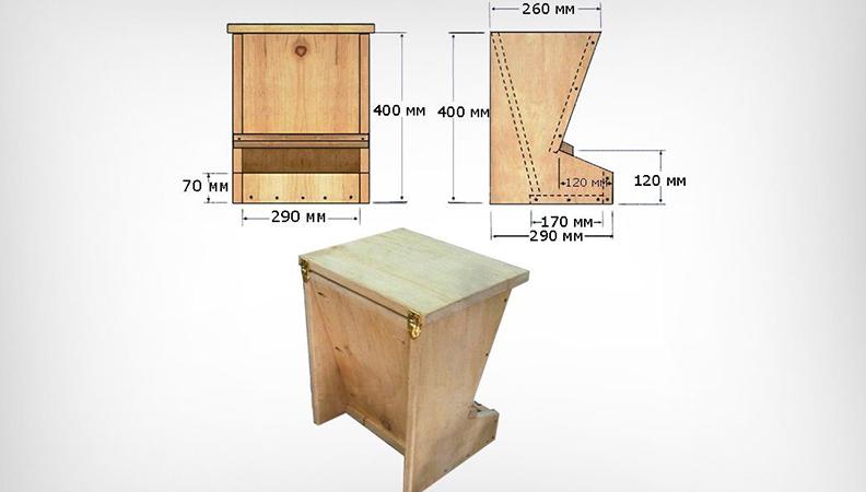 Бункерная деревянная кормушка